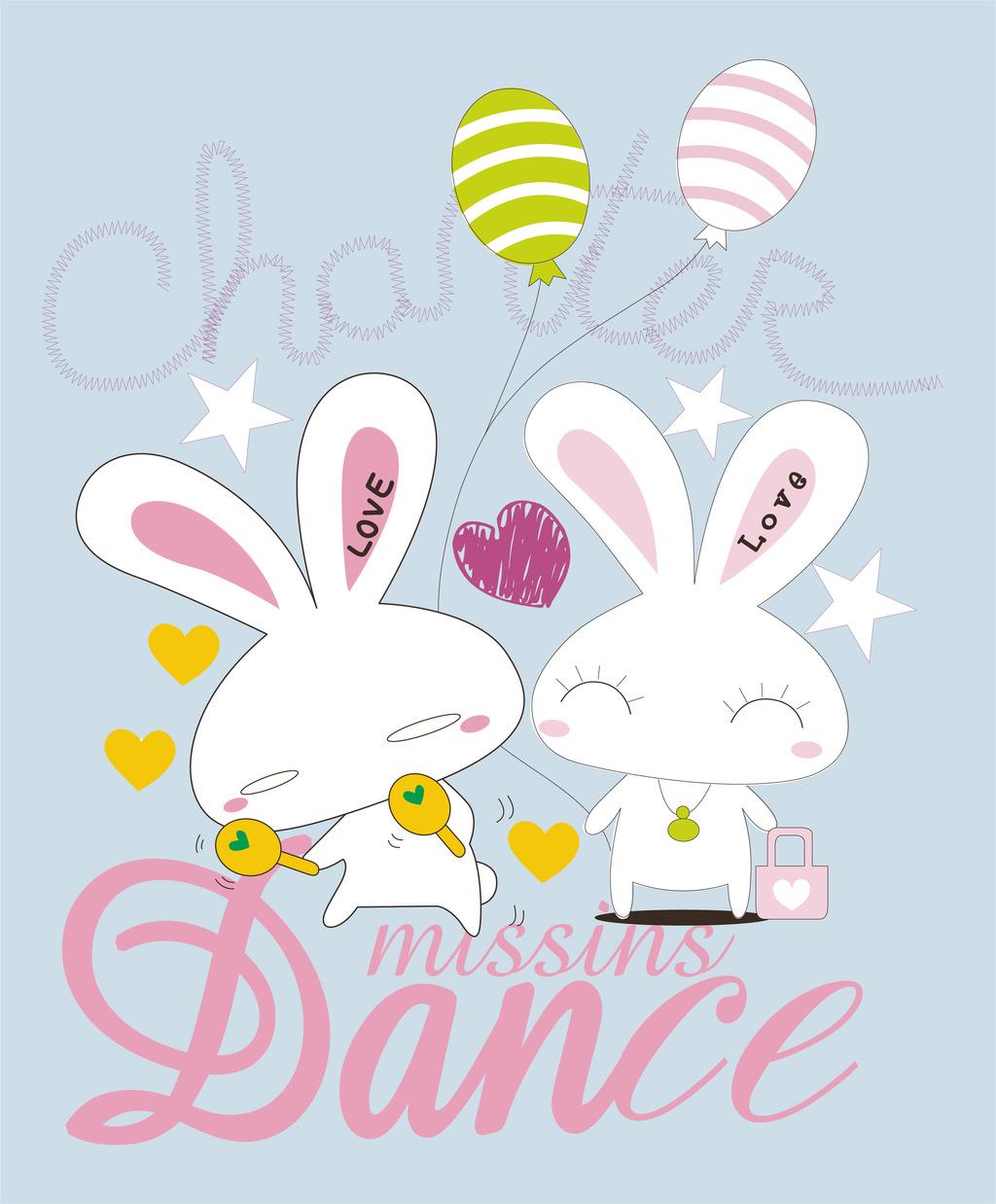 卡通兔子图案印花手绘卡通兔子