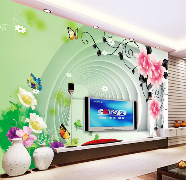 鲜花蝴蝶隧道3d电视机背景墙