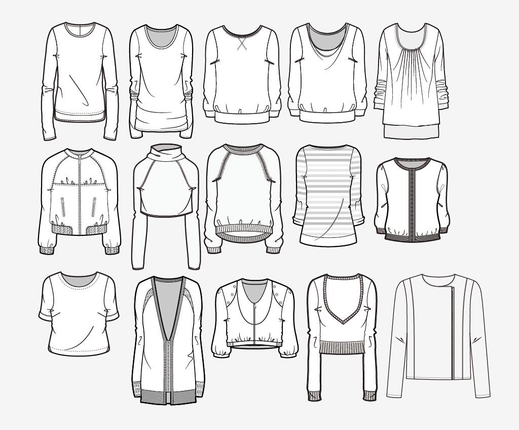 服装设计15款手绘上衣款式ai格式模板下载图片