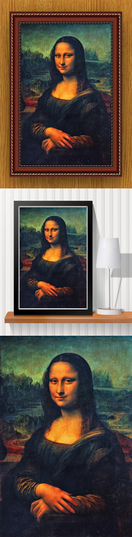 高清手绘欧式古典写实风格蒙娜丽莎油画