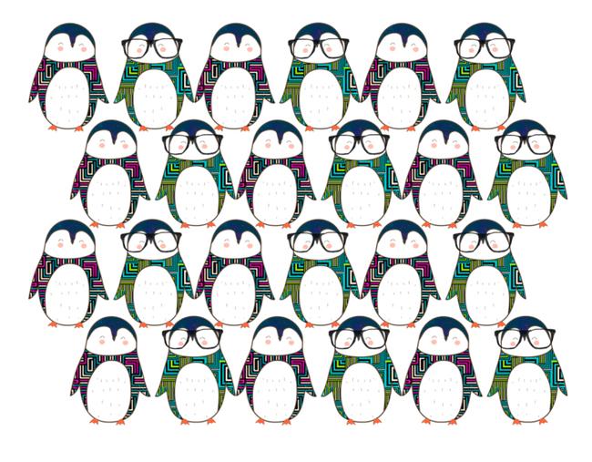 t恤印花图案设计 印花下载 图案下载ps分层企鹅 可爱企鹅 动物 戴眼镜