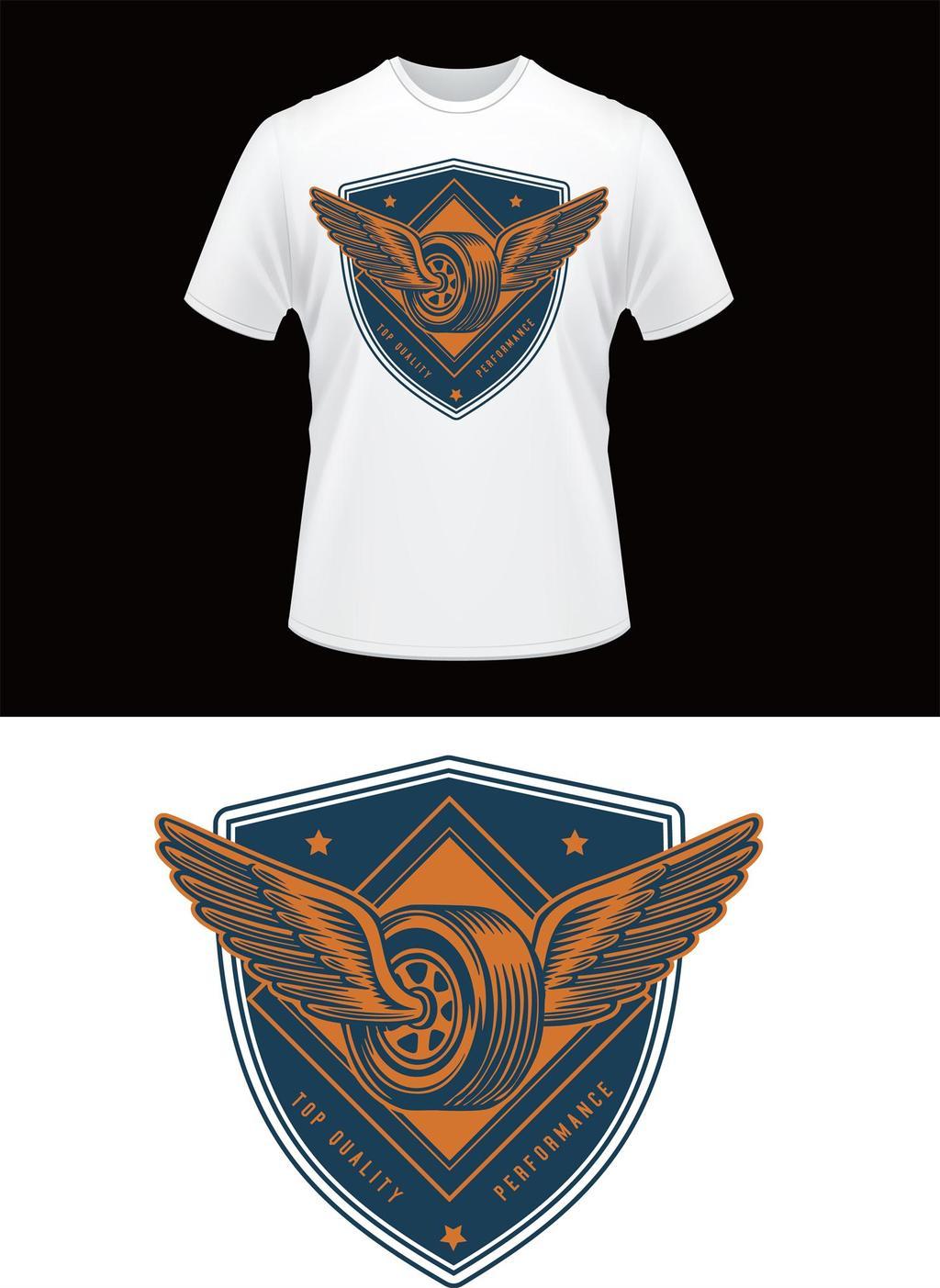 t恤设计图 短袖t恤 英文 手绘 肌理 趣味 涂鸦 盾牌图标 翅膀图案