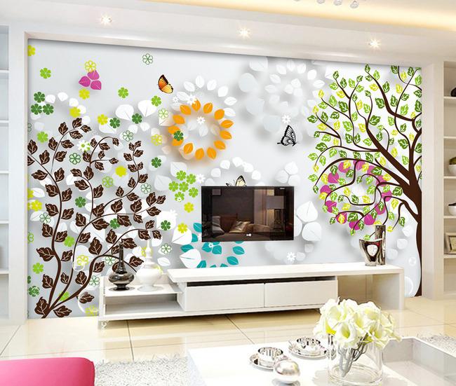 手绘花树蝴蝶电视背景墙