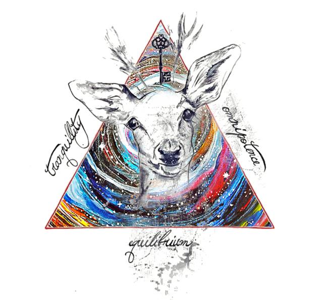 原宿风 手绘鹿头