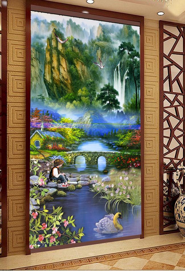 山水风景画油画欧式油画玄关