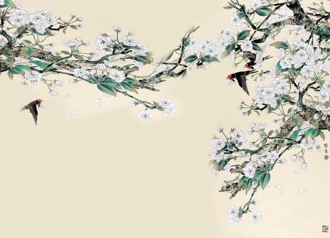 鸟语花香 背景墙 图片 下载 手绘花鸟图 工笔画 花鸟 叶子 树藤 电视