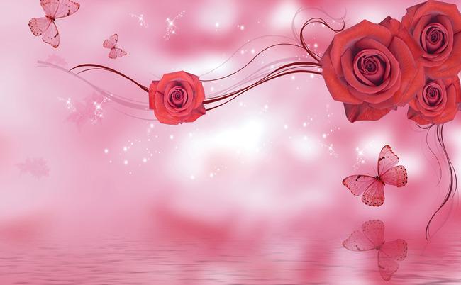 电视背景墙梦幻红色玫瑰花藤