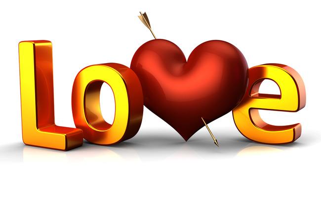 情人节创意love立体字体高清图片