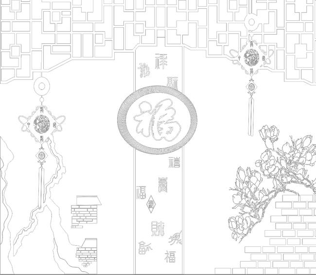 福临门中国结福如意玉兰花背景墙雕刻路径