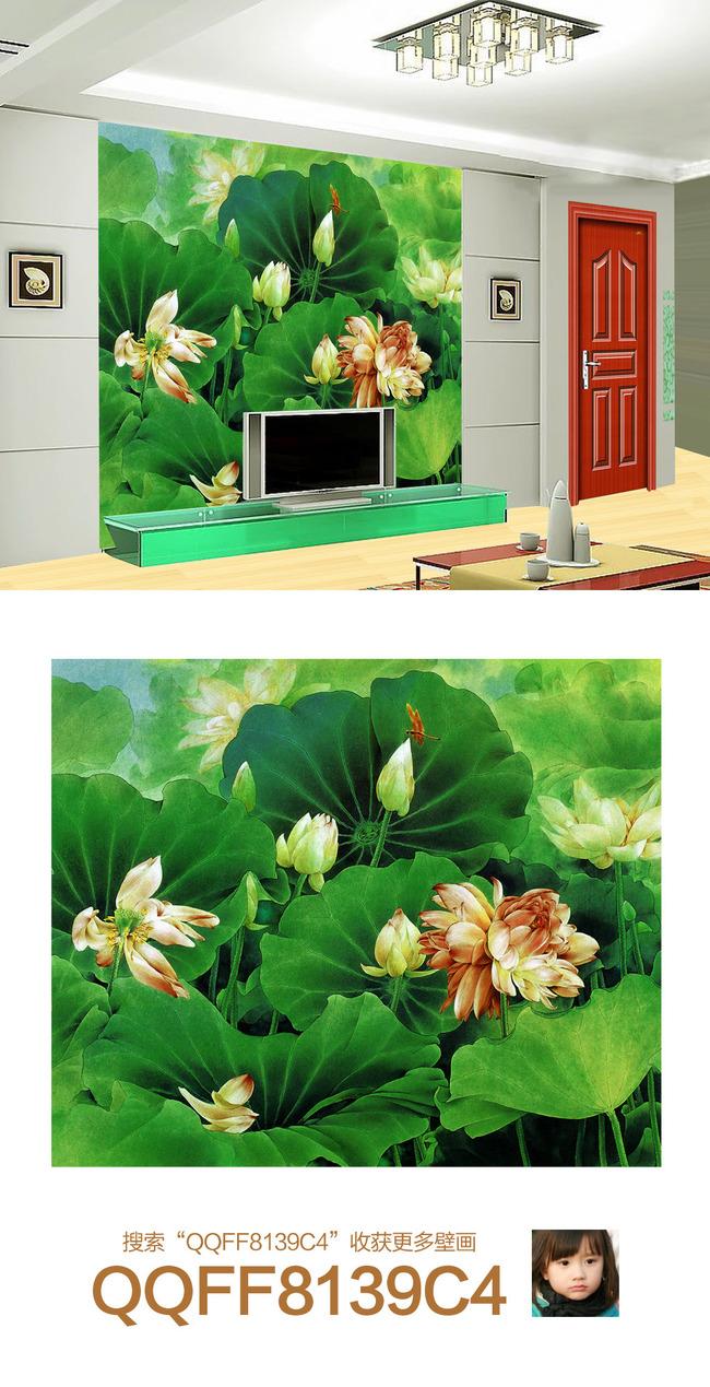 中式高清手绘荷花沙发背景墙壁画