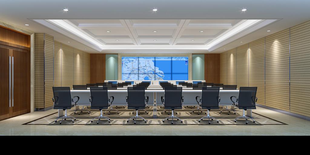 指挥中心效果图 监控室设计 指挥中心设计