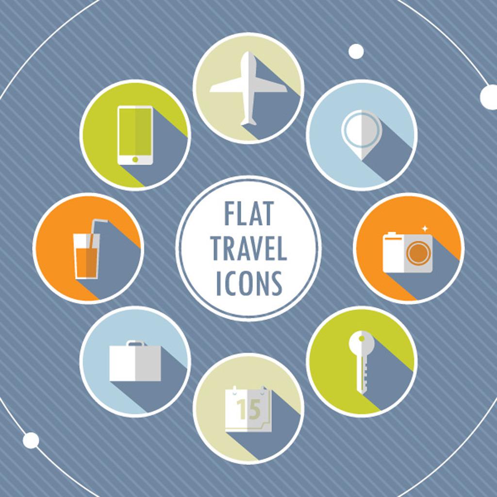 8个旅行相关扁平化图标图片下载旅行图标手机飞机