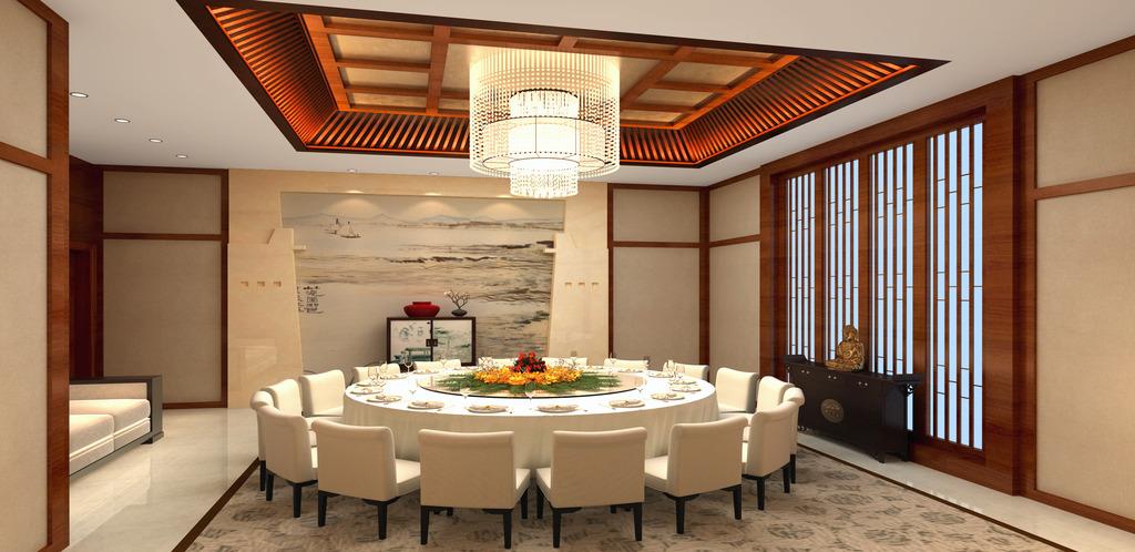 酒店餐厅中式豪华包间效果图室内设计装修图片