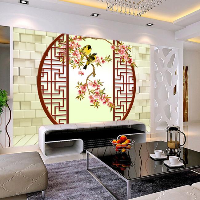 中国风山水花鸟电视背景墙