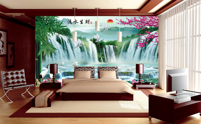 山水瀑布 梅花 荷花 仙鹤 丹顶鹤 竹子 电视背景墙 沙发背景墙 客厅