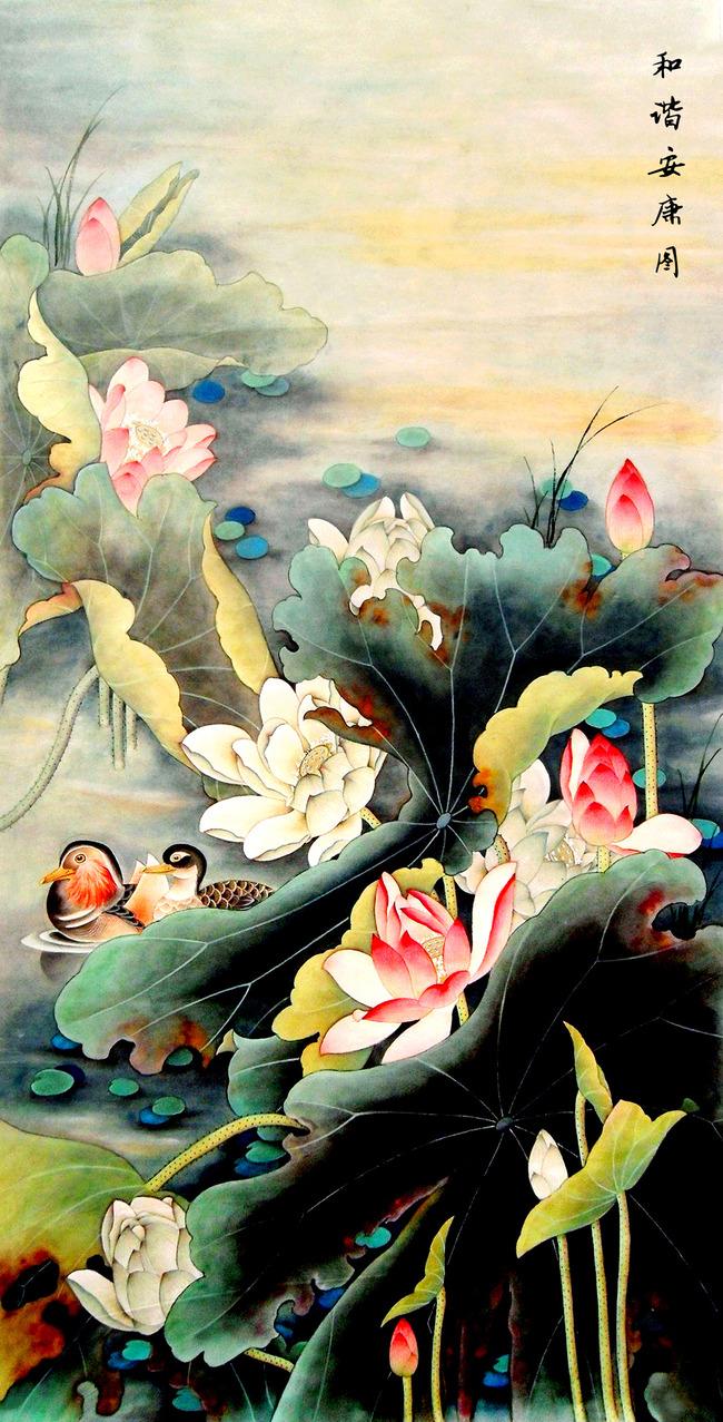 沙发 鸟语花香 背景墙           手绘花鸟图 工笔画 花鸟 叶子
