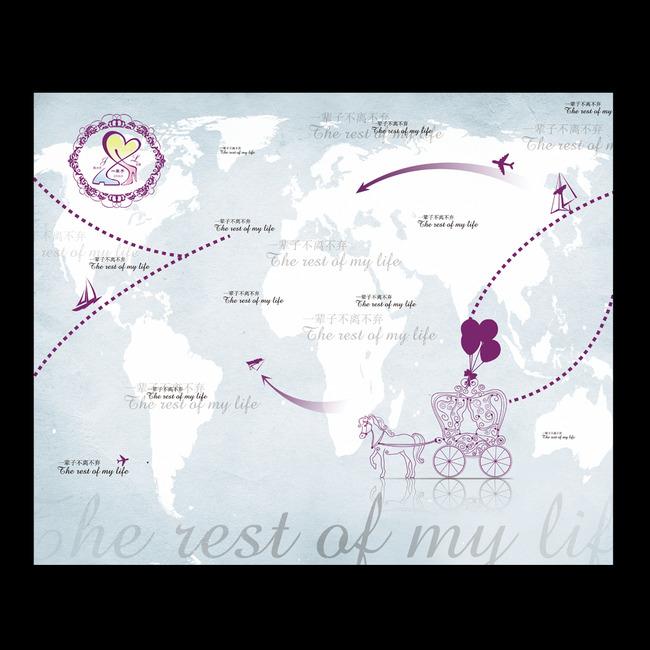 环游世界婚礼迎宾牌水牌喷绘设计源文件