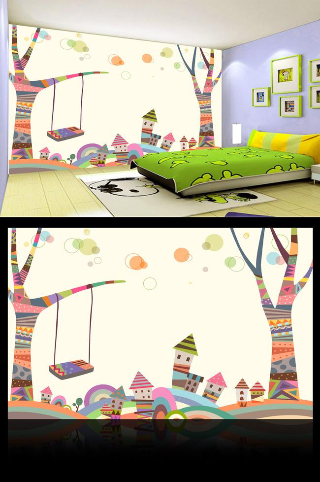 儿童卡通千秋大树房子背景墙装饰画