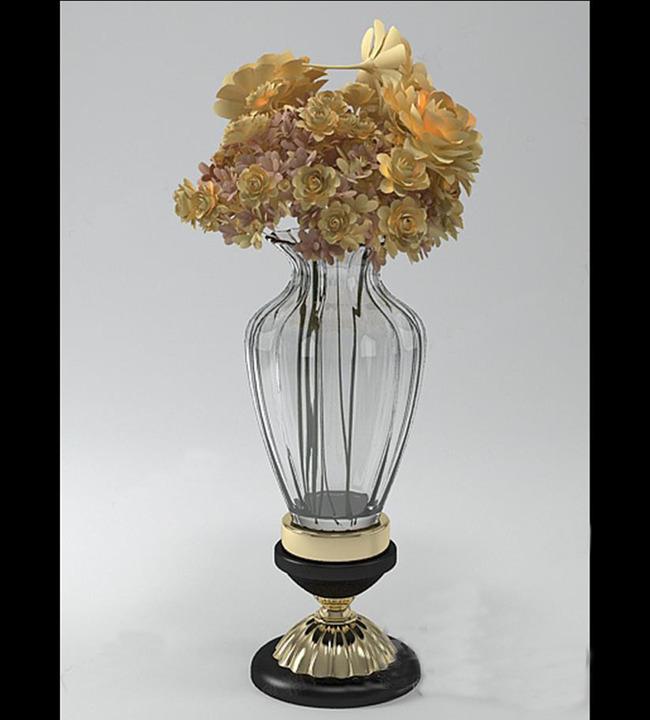 单体花瓶室内手绘