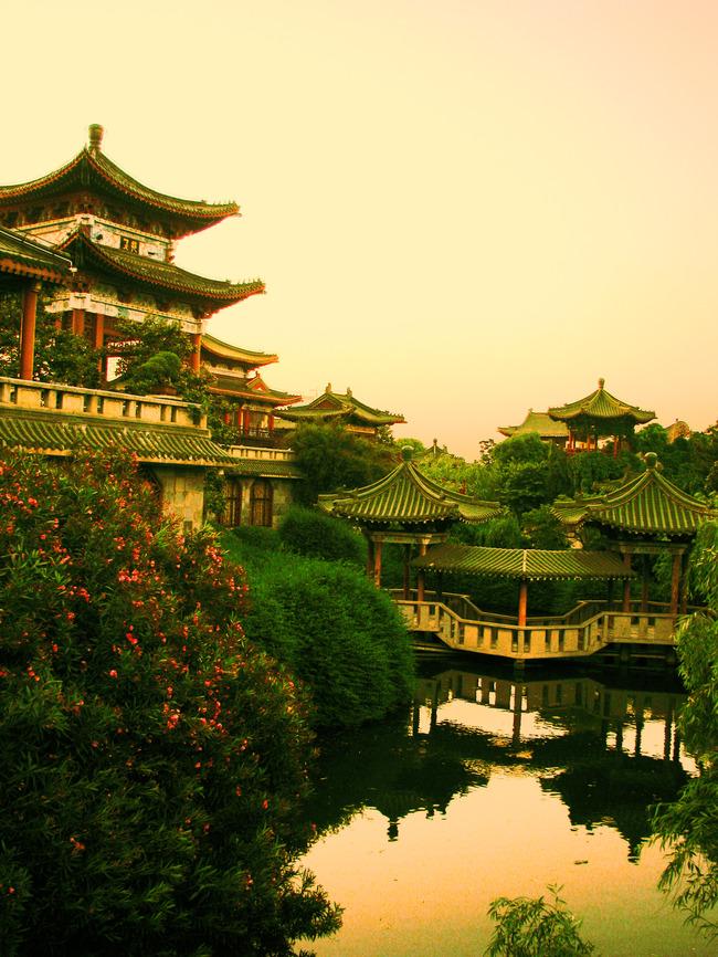 中国风建筑风景园林传统元素图片素材