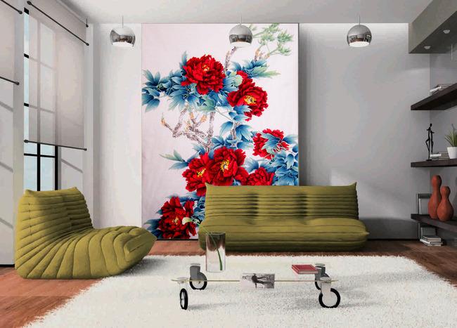 沙发 电视墙 墙画 装饰画 酒店壁画 工装 背景墙 简约背景墙 牡丹花