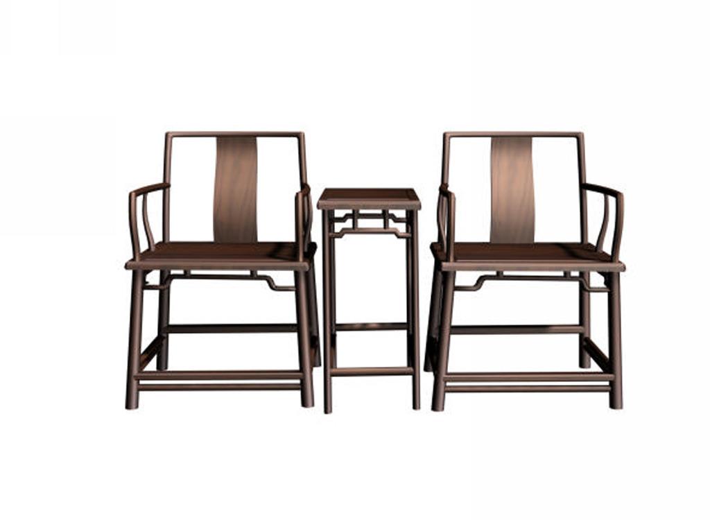 中式家具桌椅模型