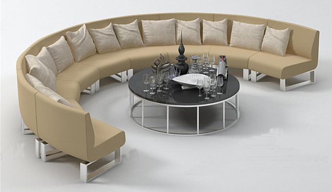 家具模型 > 半圆形沙发茶几组合多人3dmax模型
