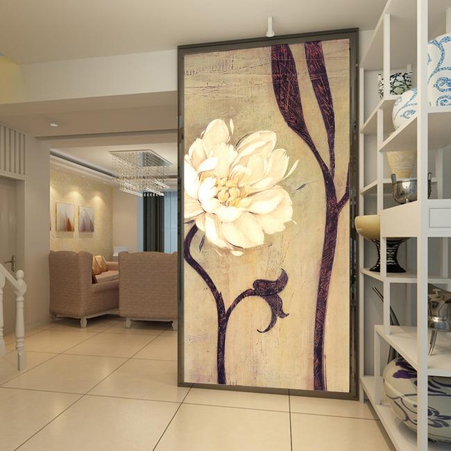 复古手绘花卉藤蔓玄关背景墙