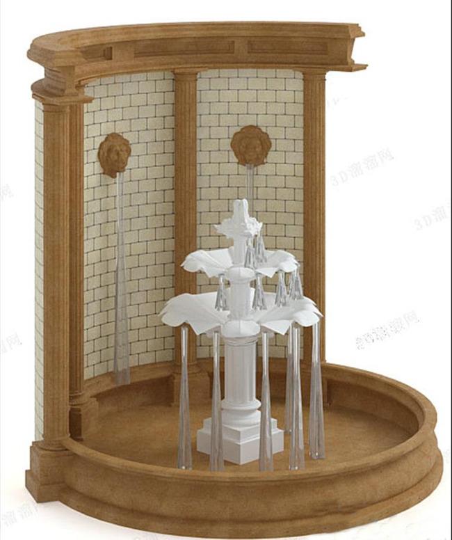 欧式喷泉形象墙水池3d模型背景墙