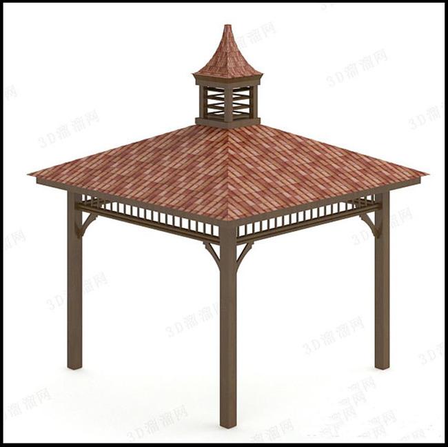 中式凉亭园林小品公园休闲亭子3d模型