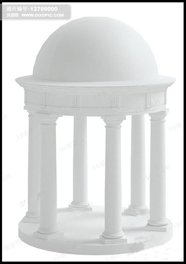3d模型 室内设计3d模型 单体模型 > 欧式凉亭建筑罗马柱圆形顶棚3d