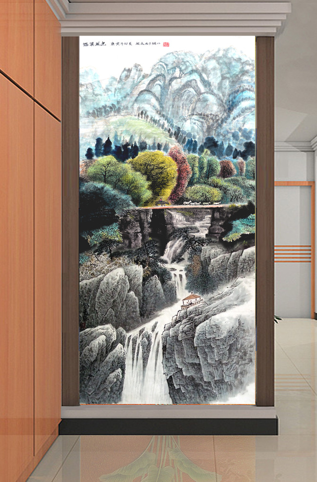 中国画水墨画国画山水风景画玄关