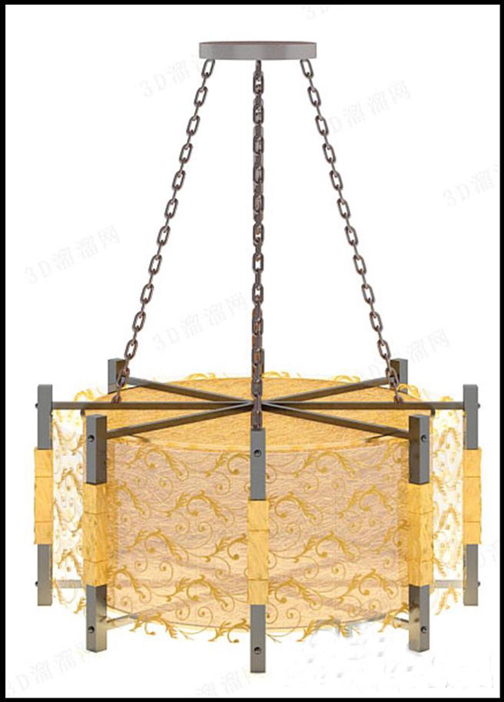 手绘单体中式吊灯