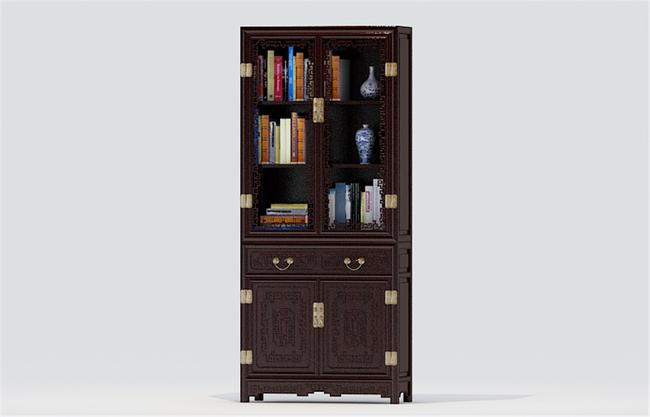 现代简约欧式古典中式书房书柜壁柜酒柜书架书桌3d