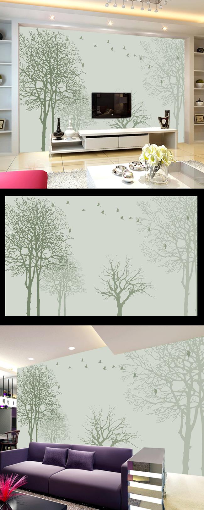 抽象树藤电视背景墙装饰画