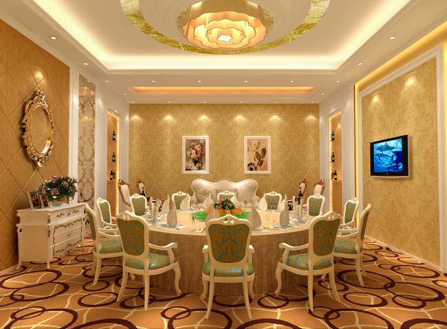 酒店餐厅欧式豪华包间效果图室内3d模型图片