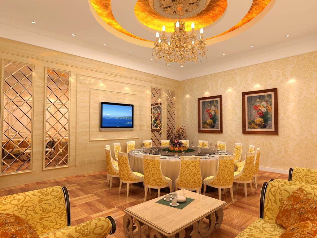 酒店餐厅欧式豪华大包间3d模型图片
