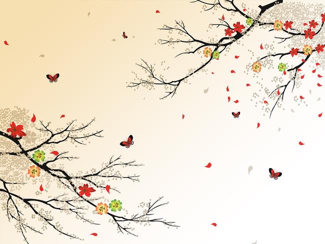 电视背景墙枫叶树枝装饰画