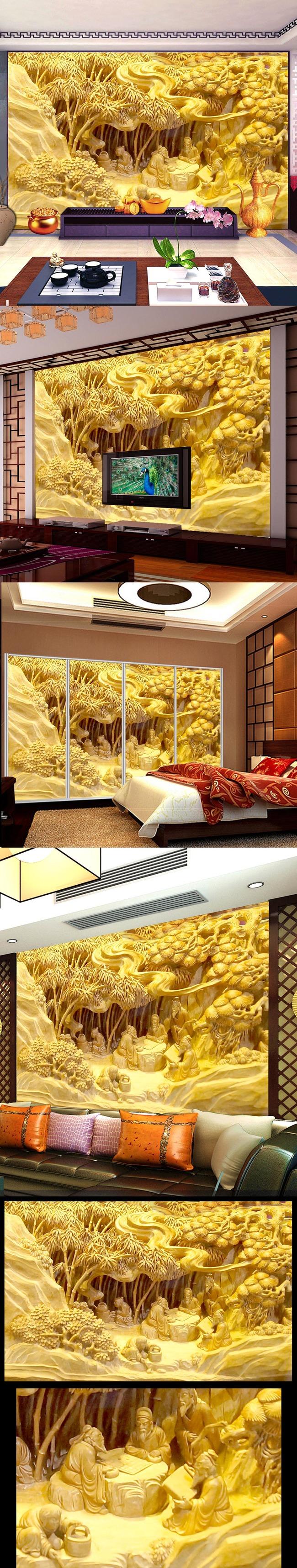 中式立体浮雕凤凰牡丹壁画电视背景墙