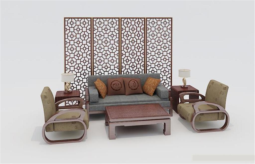 手绘新中式家具单体