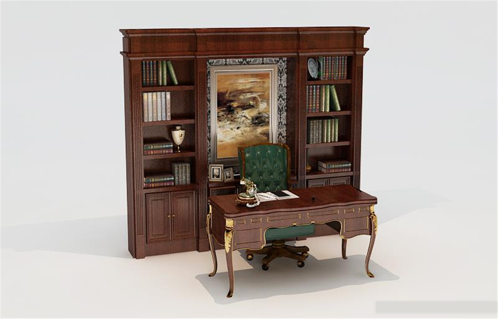 红木书柜书桌3d模型