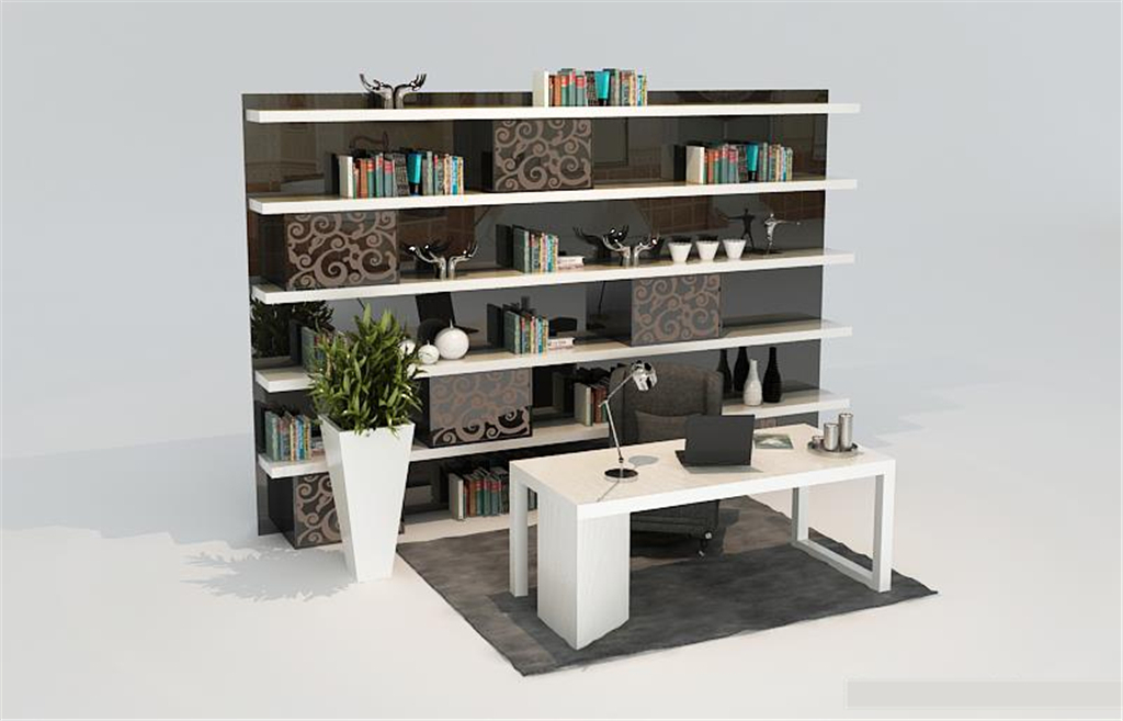 现代饰品架书柜书桌3d模型