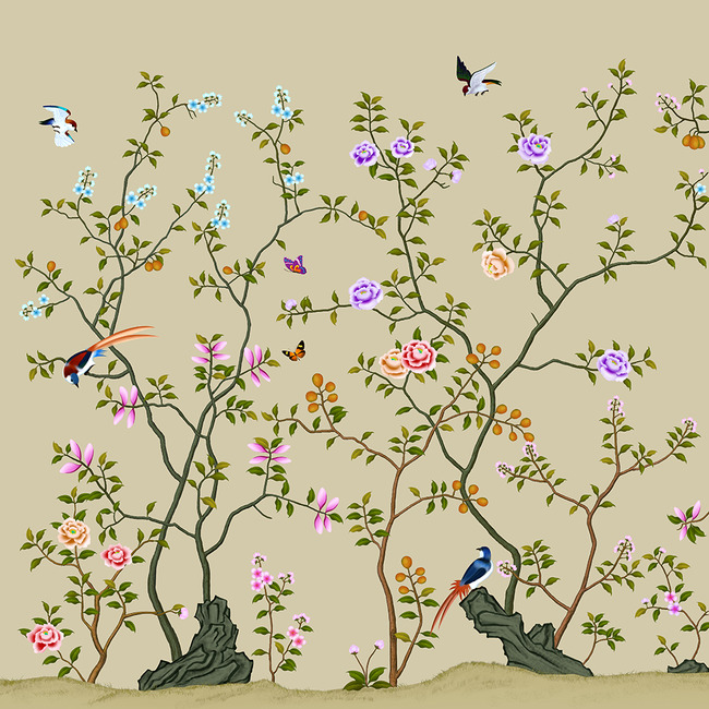 中式背景墙 花鸟图图片