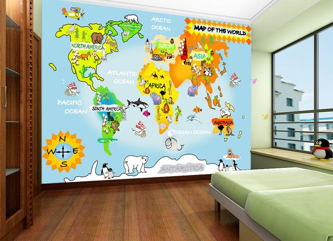 背景墙|装饰画 电视背景墙 手绘电视背景墙 > 卡通世界地图