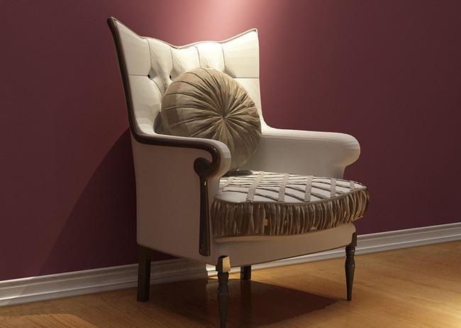 欧式靠背纯白米色单位沙发座椅3d模型图片下载