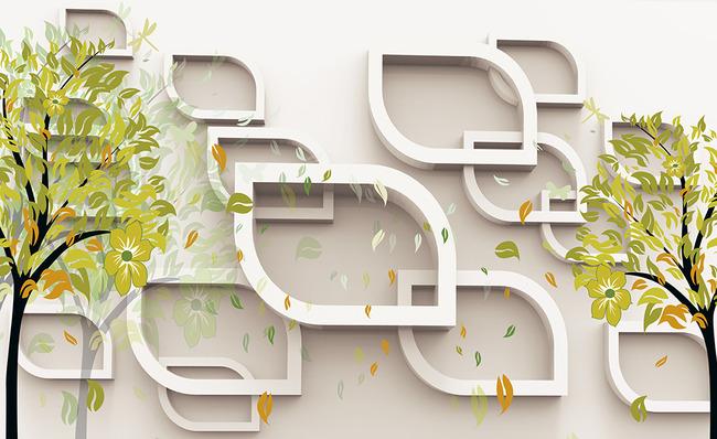 现代简约 抽象树 手绘 树林 鸟 立体方形 清雅 素雅 时尚 创意 唯美
