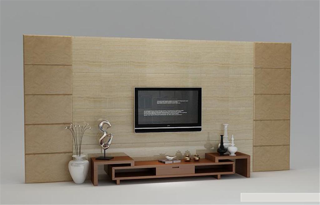 现代经典电视背景墙电视柜3d模型