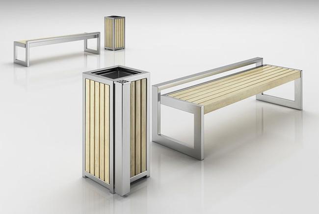 户外垃圾桶及休息区座椅配套3d模型模板下载