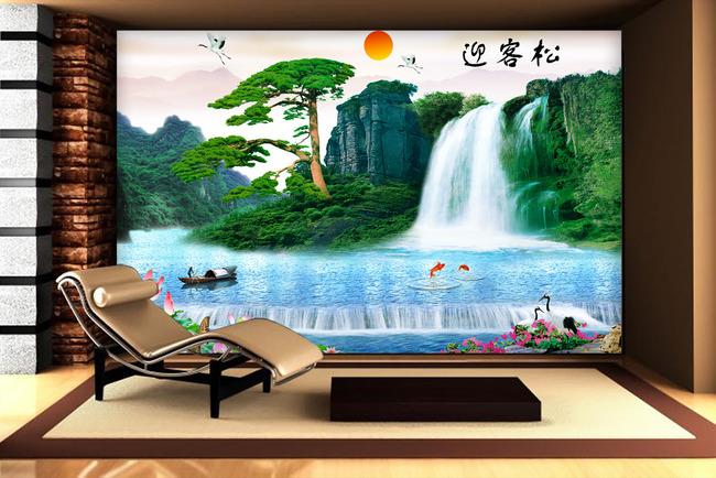 迎客松仙鹤荷花瀑布小船电视背景墙