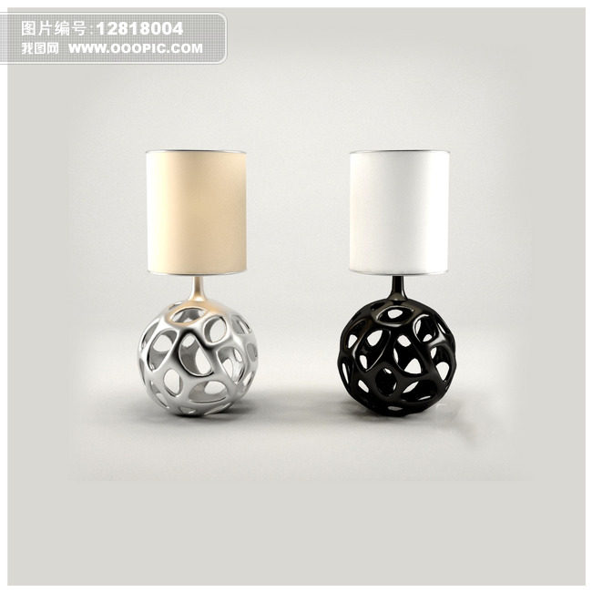 3d模型 室内设计3d模型 单体模型 > 黑白镂空设计台灯3d模型  下一张&